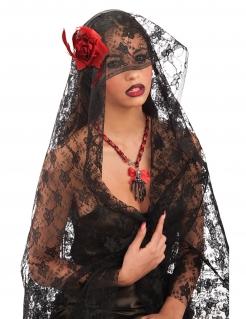 Spitzen-Schleier für Damen Tag der Toten Halloween-Accessoire schwarz-rot