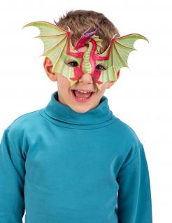 Mächtige Drachen-Maske für Kinder Halbmaske rot-grün-violett