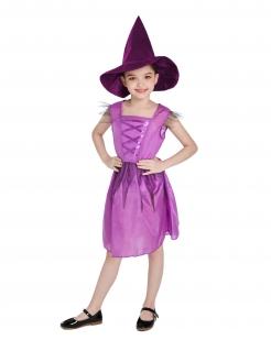 Kleine Hexe Kostüm für Mädchen Halloweenkostüm violett