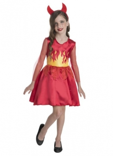 Teufelin-Kostüm für Mädchen Halloween-Kostüm rot-orange
