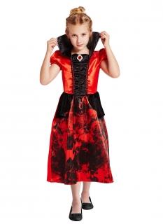 Adliges Vampirkostüm für Mädchen rot-schwarz