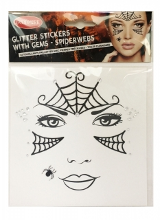 Spinnen-Tattoos mit falschen Diamanten Halloween-Make-up Damen schwarz-silber
