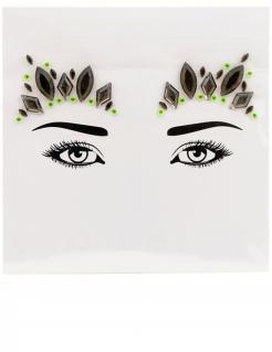 Prinzessinnen-Sticker für das Gesicht kristallförmig schwarz-grün