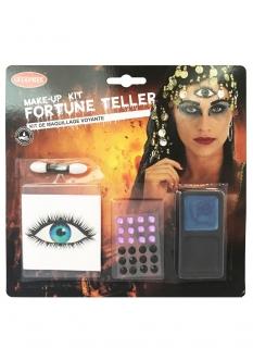 Wahrsagerin-Make-up-Set für Damen Halloween-Schminke rosa-blau-schwarz