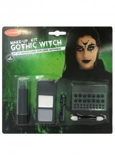 Gothic-Hexe Make-up-Set für Damen Halloween-Schminke schwarz-weiss