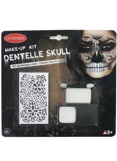 Spitzen-Totenkopf Make-up-Set für Damen Halloween-Make-up schwarz-weiss