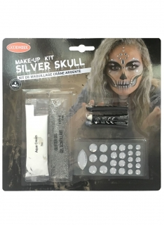 Silver Skull Make-up-Set für Damen Halloween-Schminke silber