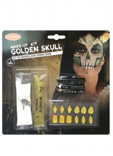 Totenkopf-Make-up Set für Damen mit Glitzersteinen gold
