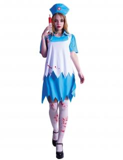 Blutiges Krankenschwester-Kostüm für Damen Halloweenkostüm blau-weiss-rot