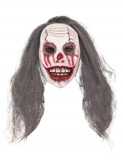 Blutige Clown-Maske mit Haaren Halloween-Maske weiss-braun-rot
