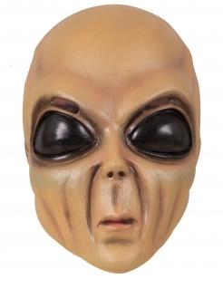 Alien-Vollmaske Halloween-Maske beige-schwarz