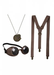 Steampunk-Accessoire-Set für Erwachsene Halloween-Accessoire braun-gold