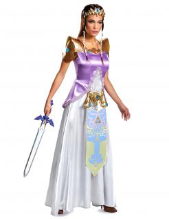 Prinzessin Zelda™-Kostüm für Damen Faschingskostüm Deluxe violett-weiss-gold