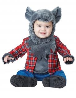 Niedliches Werwolf-Kostüm für Babys Halloween-Kostüm grau-rot-blau