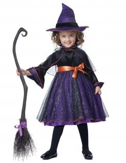 Hexen-Kostüm für Mädchen Abrakadrabra Halloweenkostüm violett-schwarz-orange