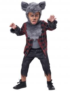 Werwolf-Kostüm für Jungen im Karohemd Halloween-Kostüm grau-rot