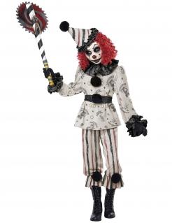 Finsteres Clown-Kostüm für Kinder Halloweenkostüm schwarz-weiss