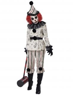 Finsteres Clown-Kostüm für Damen Halloweenkostüm weiss-schwarz