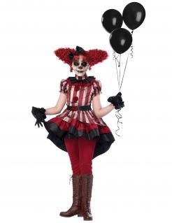 Killerclown-Kostüm für Mädchen Halloweenkostüm beige-rot