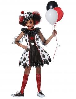 Furchteinflössendes Clown-Kostüm für Mädchen Halloweenkostüm schwarz-weiss-rot