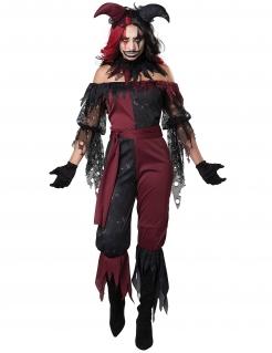 Psychoclown-Damenkostüm für Halloween schwarz-rot