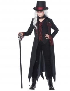 Gothic-Vampirkostüm für Mädchen Halloween-Kostüm schwarz-rot