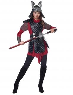 Samurai-Kriegerin Damenkostüm Faschingskostüm rot-schwarz