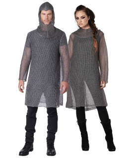Kettenhemd für Erwachsene aus Stoff Ritter-Kostüm silber