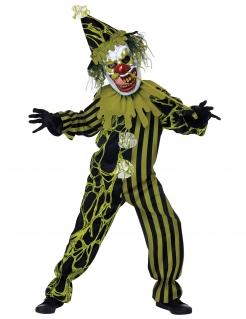 Schauriges Horrorclown-Kostüm für Jungen Halloweenkostüm grün-schwarz