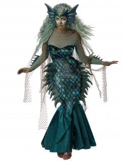 Böse-Meerjungfrau-Kostüm Meerhexe Halloween blau-grün