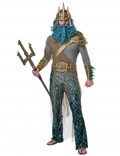 Meeresgott-Kostüm für Herren Poseidon-Kostüm grau-blau-grün