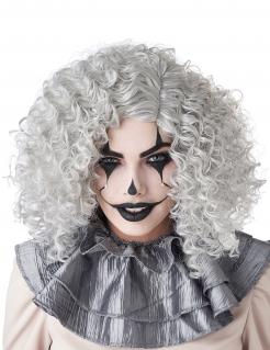 Locken-Perücke Clown Skelett Geist grau