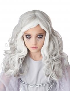 Schaurige Geister-Perücke für Kinder Halloween weiss-grau
