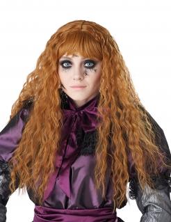 Kinder-Perücke lockig lang für Halloween und Karneval rot-orange