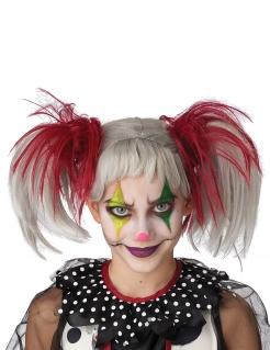 Halloween-Perücke für Kinder Clown weiss-rot
