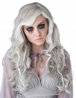 Schaurige Geist-Perücke Halloween weiss-grau
