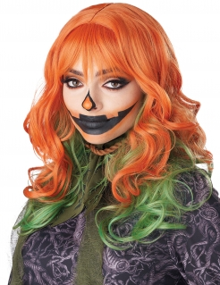 Halloween-Perücke Kürbis orange-grün