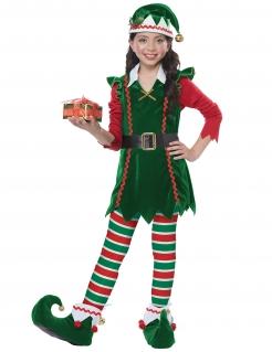 Weihnachtswichtel-Kostüm für Mädchen Weihnachtskostüm grün-rot