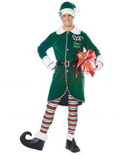 Weihnachtself-Herrenkostüm für Weihnachten grün-weiß-rot