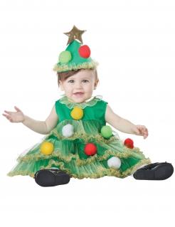 Weihnachtsbaum-Kleid für Babys Weihnachten-Kostüm grün-bunt