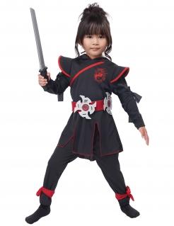 Ninja-Kostüm für Mädchen Faschingskostüm schwarz-rot