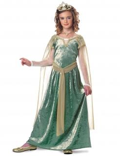 Königin Guinevere Kostüm für Mädchen grün-goldfarben