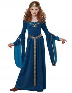 Elegante Mittelalter-Prinzessin Mädchenkostüm blau-goldfarben