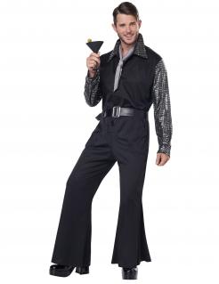 Disco-Kostüm für Herren Bling Bling 70er Faschingskostüm glitzernd schwarz