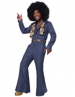 Disco-Jeanskostüm für Herren 70er Faschingskostüm blau-braun