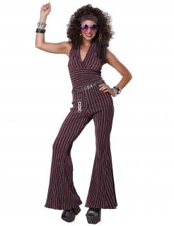 Rückenfreies 70er-Jahre Discokostüm für Damen violett-silberfarben