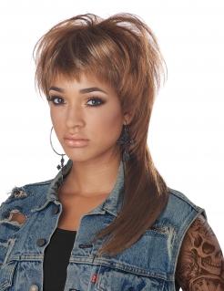 80er-Perücke für Damen Faschings-Accessoire braun-blond