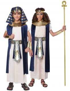 Ägyptischer Herrscher-Kostüm für Kinder Faschingskostüm weiss-blau-gold