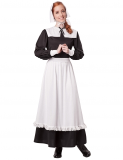 Amerikanische Pilgerin Historienkostüm für Damen schwarz-weiß