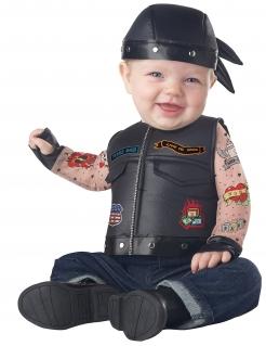 Motorradfahrer-Kostüm für Babys Faschingskostüm schwarz